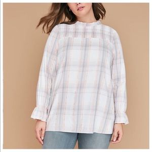 Lane Bryant Plaid High Neck Smocked Yoke Blouse